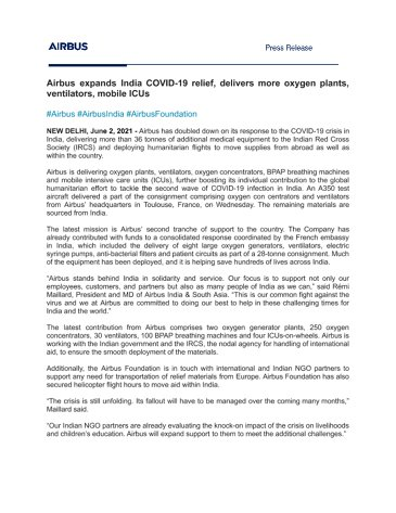 Airbus expands India COVID-19 relief, delivers more oxygen plants, ventilators, mobile ICUs