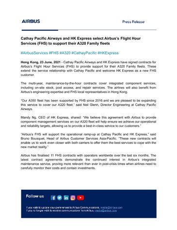 Cathay Pacific Airways and HK Express select Airbus's Flight Hour Services (FHS) to support their A320 Family fleets