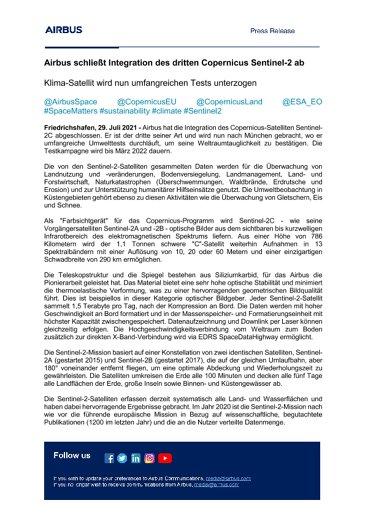 Airbus schließt Integration des dritten Copernicus Sentinel-2 ab