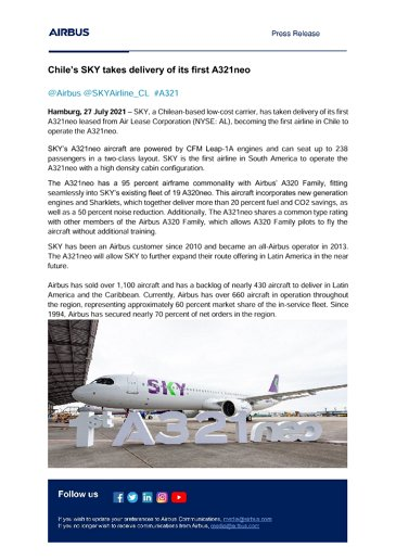 Chile's SKY takes delivery of its first A321neo