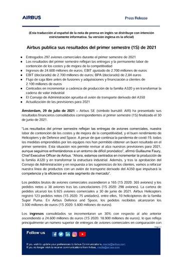 Airbus publica sus resultados del primer semestre (1S) de 2021