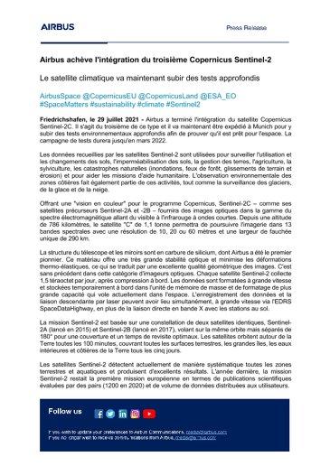 Airbus achève l'intégration du troisième Copernicus Sentinel-2