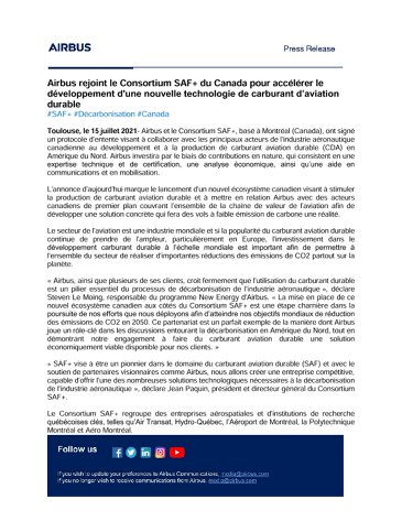 Airbus joins Canada's SAF+ Consortium to accelerate the development of a new Sustainable Aviation Fuel technology