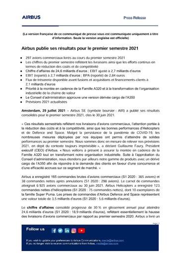 Airbus publie ses résultats pour le premier semestre 2021