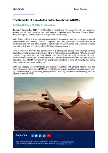 The Republic of Kazakhstan orders two Airbus A400Ms