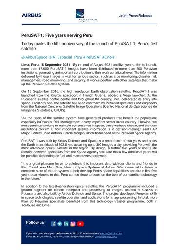 PerúSAT-1: Five years serving Peru