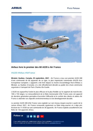 Airbus delivers first of 60 A220s to Air France