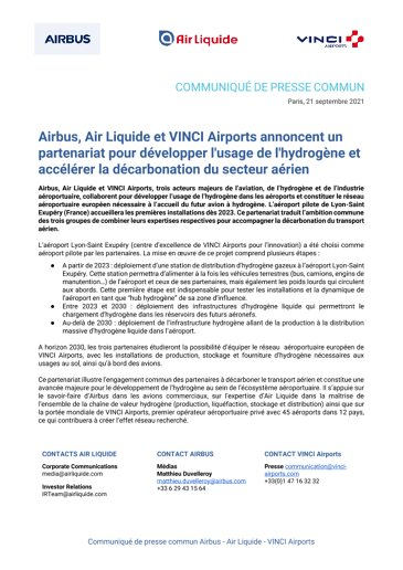 Airbus, Air Liquide and VINCI Airports announce a partnership to promote the use of hydrogen and accelerate the decarbonization of the aviation sector