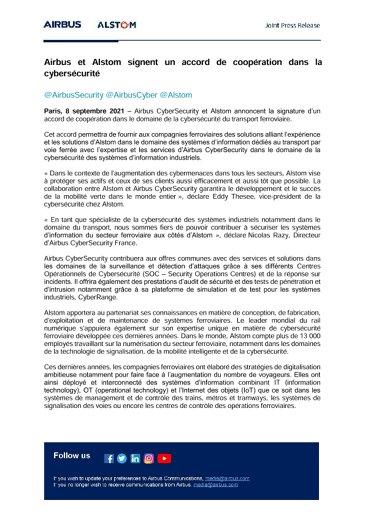Airbus et Alstom signent un accord de coopération dans la cybersécurité
