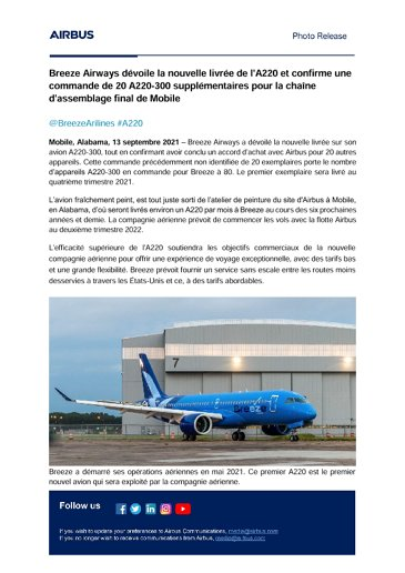 Breeze Airways reveals new A220 livery, confirms order for 20 additional A220-300 aircraft from Mobile Final Assembly Line