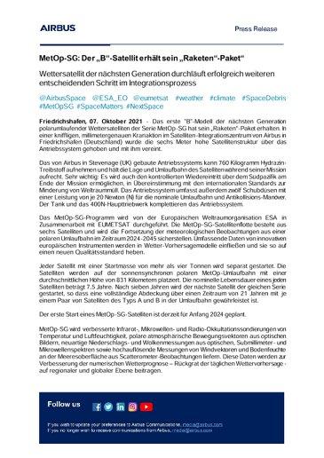 """MetOp-SG: Der """"B""""-Satellit erhält sein """"Raketen""""-Paket"""""""