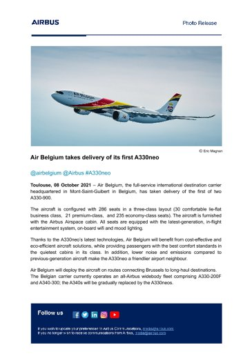 Air Belgium takes delivery of its first A330neo