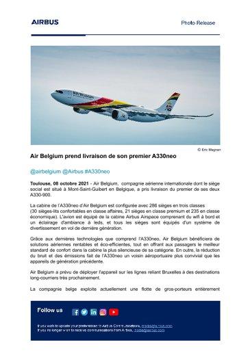 Air Belgium prend livraison de son premier A330neo