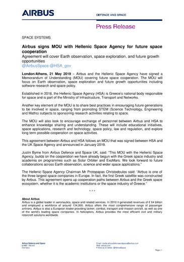 EN-Airbus-SpS-Press Release-Airbus signs MOU with Hellenic Space Agency for future space cooperation