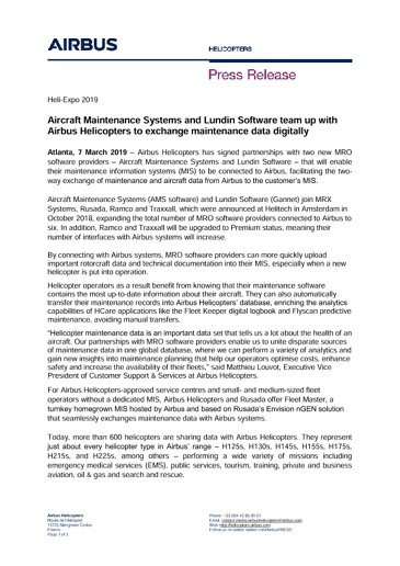 Aircraft Maintenance Systems and Lundin Software team up with Airbus Helicopters to exchange maintenance data digitally