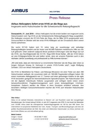 Airbus Helicopters liefert erste H145 an die Rega aus