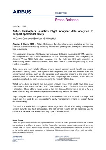 Airbus Helicopters launches Flight Analyser data analytics to support operational safety