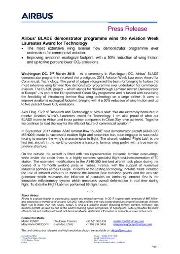 Airbus' BLADE programme wins Aviation Week Laureate Technology Award