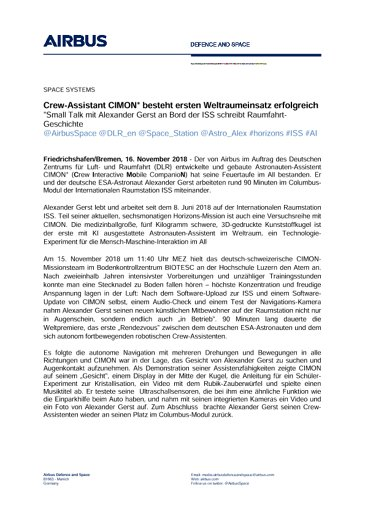 Airbus DS Press Release CIMON 20181116 DE