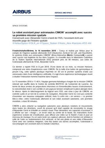 Airbus DS Press Release CIMON 20181116 FR