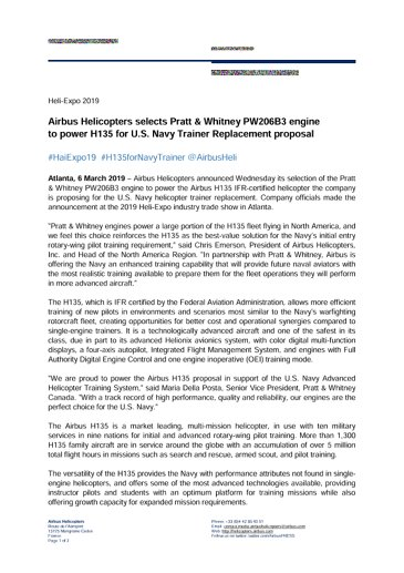 Airbus Helicopters selects Pratt & Whitney PW206B3 engine to power H135 for U.S. Navy Trainer Replacement proposal