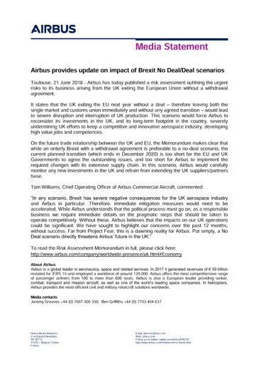 Airbus provides update on impact of Brexit No Deal/Deal scenarios