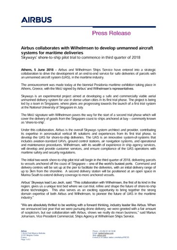 Airbus collaborates with Wilhelmsen to develop unmanned aircraft systems for maritime deliveries