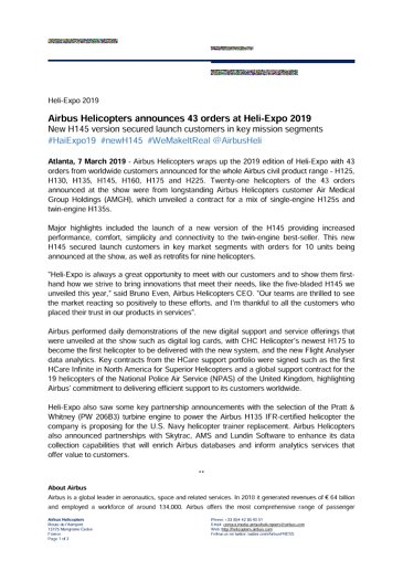 Airbus Helicopters announces 43 orders at Heli-Expo 2019