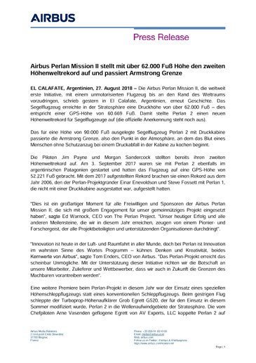 Airbus Perlan Mission II stellt mit über 62.000 Fuß Höhe den zweiten Höhenweltrekord auf und passiert Armstrong Grenze