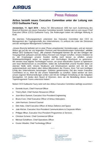 Airbus bestellt neues Executive Committee unter der Leitung von CEO Guillaume Faury