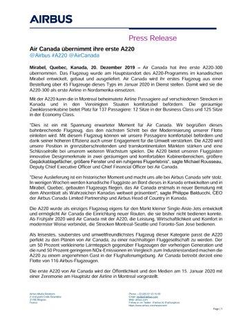 Air Canada übernimmt ihre erste A220