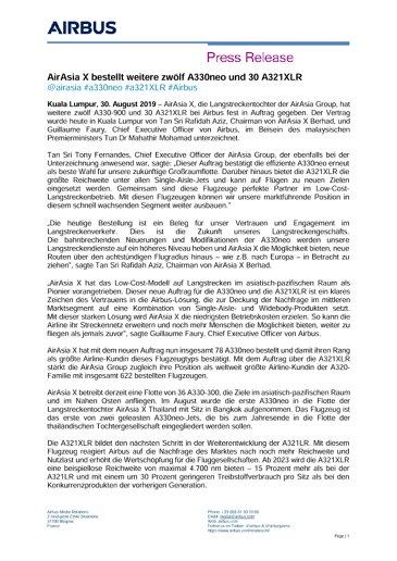 AirAsia X orders 12 more A330neo and 30 A321XLR aircraft