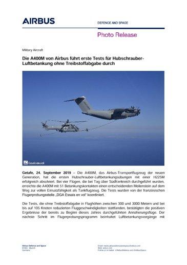 Die A400M von Airbus führt erste Tests für Hubschrauber-Luftbetankung ohne Treibstoffabgabe durch