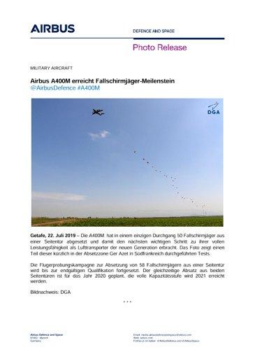 Airbus A400M erreicht Fallschirmjäger-Meilenstein