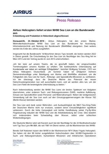 Airbus Helicopters liefert ersten NH90 Sea Lion an die Bundeswehr aus