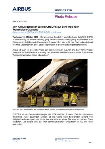 Von Airbus gebauter Satellit CHEOPS auf dem Weg nach Französisch-Guayana