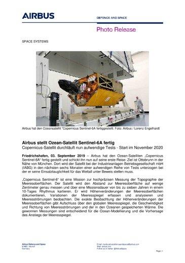 Airbus stellt Ozean-Satellit Sentinel-6A fertig