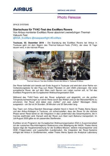 Startschuss für TVAC-Test des ExoMars Rovers