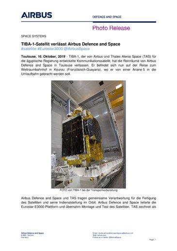 TIBA-1-Satellit verlässt Airbus Defence and Space