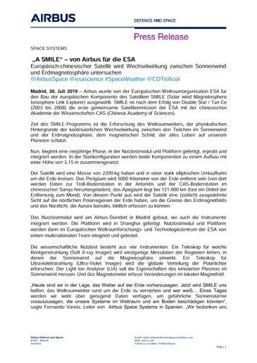 """""""A SMILE"""" – von Airbus für die ESA"""