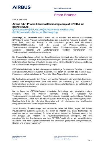 Airbus führt Photonik-Nutzlasttechnologieprojekt OPTIMA auf nächste Stufe