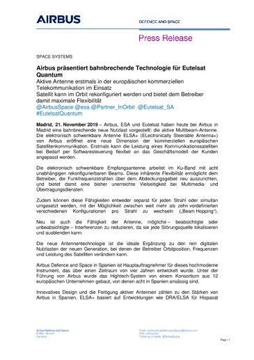 Airbus präsentiert bahnbrechende Technologie für Eutelsat Quantum