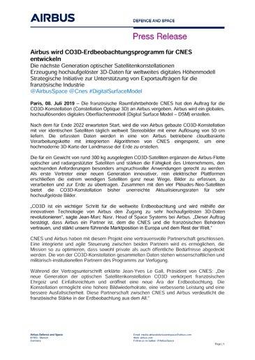 Airbus wird CO3D-Erdbeobachtungsprogramm für CNES entwickeln