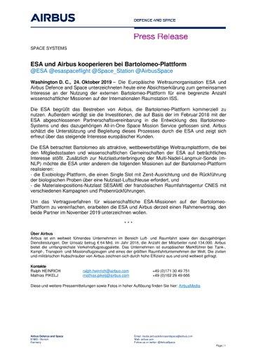 ESA und Airbus kooperieren bei Bartolomeo-Plattform