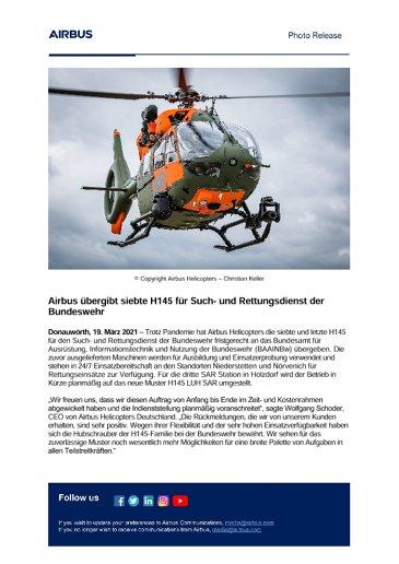 Airbus übergibt siebte H145 für Such- und Rettungsdienst der Bundeswehr