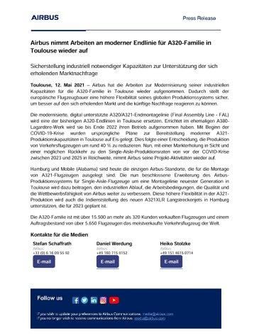 Airbus reanuda los trabajos para una línea de ensamblaje final modernizada de la Familia A320 en Toulouse