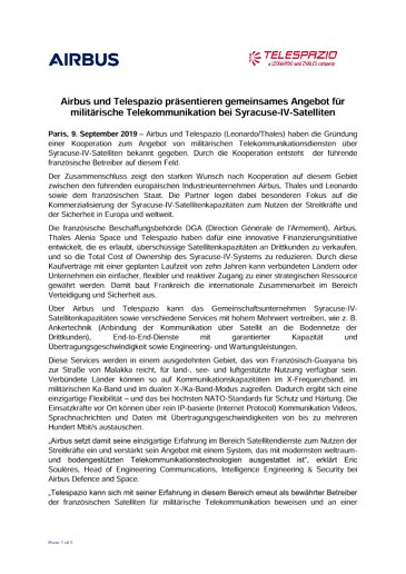 Airbus und Telespazio präsentieren gemeinsames Angebot für militärische Telekommunikation bei Syracuse-IV-Satelliten