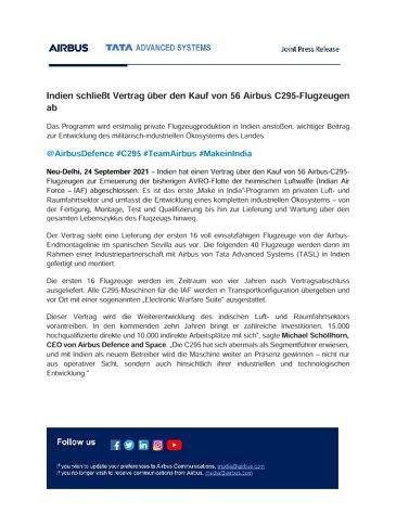 Indien schließt Vertrag über den Kauf von 56 Airbus C295-Flugzeugen ab
