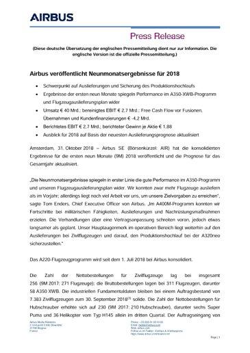 Airbus veröffentlicht Neunmonatsergebnisse für 2018