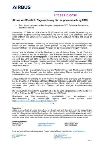 Airbus veröffentlicht Tagesordnung für Hauptversammlung 2019